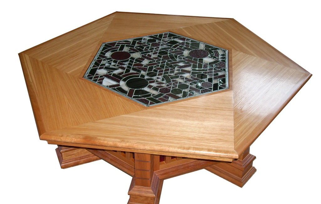 Lighted Coffee Table #F GF1 A Striking Example Of Furniture Design  Incorporating Stained Glass. The Hexagonal Pecan Wood Top Is Constructed In  A Camera Eye ...