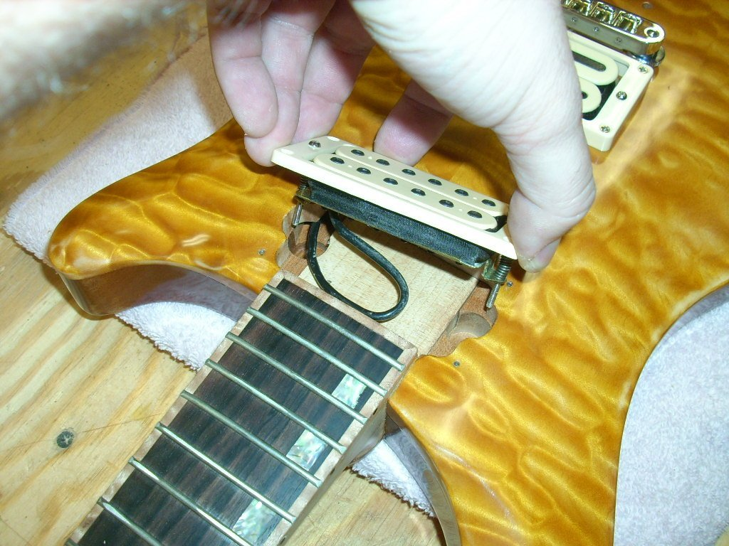 How To Build A Guitar In 62 Easy Steps Now The Is Wired Exactly As Diagram Flip Over And Install Your Pickups Our Had Piezo Pickup Bridge Whose Wiring Be Routed Through Cavity